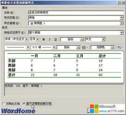 在word2007中新建表格样式